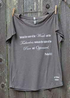 Summer is fun, but we all know fall clothes are our favorite! Step into fall with our new tri-blend dolman tee. Psalm 82:3 printed delicately on the front to share what 147 Million Orphans stands for.  Venetian Grey Tee | 147 Million Orphans