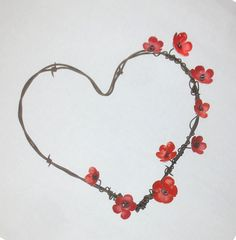 Barbed Wire Heart With RedForever Blooming by thedustyraven