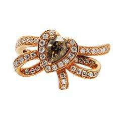 18K ROSE GOLD FANCY NATURAL COLOR CHAMPAGNE DIAMOND COCKTAIL BOW ENGAGEMENT RING