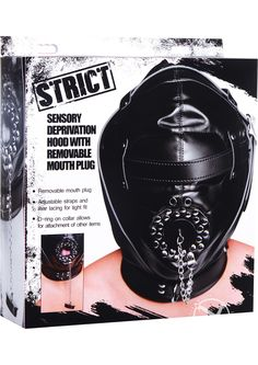 STRICT OPEN MOUTH MASK - Confine your pet in a blackout hood that deprives them of sight, sound, and speech! This hood includes lacing at the back and three buckles, including the collar, that allow you to customize the fit and bind your lover in tight confinement. The padded blindfold portion is comfortable and ensures that they will have no idea what you have in store for them as you punish, please, and tease their vulnerable body. The holes at the nose allow for unrestricted breathing,