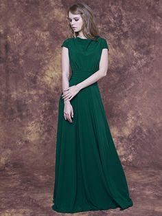 Long emerald green dress with cap sleeve/ Emerald bridesmaid dress/ Emerald formal dress/ Sage evening dress/ Emerald party dress long by KiraStarline on Etsy https://www.etsy.com/listing/290011335/long-emerald-green-dress-with-cap-sleeve