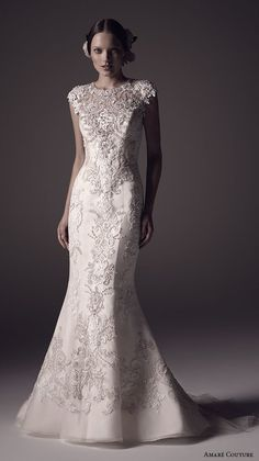AMARE COUTURE Spring Summer 2016 boat jewel neckline cap sleeves fully embellished 2 in 1 detachable a line overskirt trumpet tulle wedding dress beaded back / http://www.deerpearlflowers.com/wedding-dresses-with-cap-sleeves/2/
