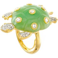 KJL by KENNETH JAY LANE Green Enamel & Crystal Turtle Ring ($55) ❤ liked on Polyvore featuring jewelry, rings, crystal stone jewelry, enamel band rings, adjustable rings, kenneth jay lane rings and green enamel ring