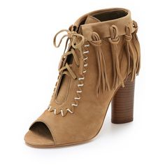 Cynthia Vincent Nailed Fringe Open Toe Booties ($265) ❤ liked on Polyvore featuring shoes, boots, ankle booties, sapatos, tan, tan boots, fringe open toe booties, leather boots, lace up boots y tan leather boots