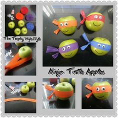 Ideias e decoração Gezonde traktaties! Ninja Party, Ninja Turtle Party, Ninja Turtle Birthday, Ninja Turtles, Ninja Turtle Snacks, Turtle Birthday Parties, Birthday Treats, Healthy Birthday, Boite A Lunch