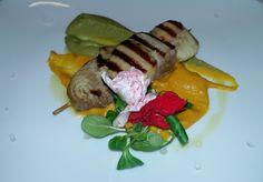Spiedino di tonno e cappesante su crema di zucca e piselli al Ristorante La Veranda a #Moltrasio