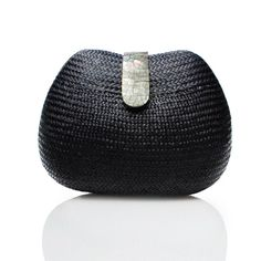 Rachel straw and mother-of-pearl clutch, Love