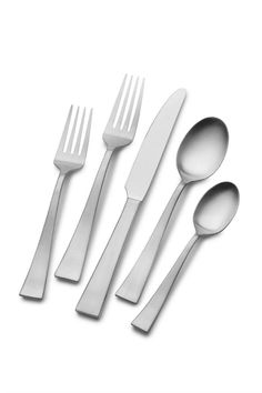This Mikasa Britt Flatware Set features a sleek, simple design that works well for both casual and formal dining. Quality crafted from stainless steel, this set is. Flatware Storage, Flatware Set, Dinner Fork, Coffee Spoon, Stainless Steel Flatware, Updated Kitchen, Kitchen Items, Mikasa, Simple Designs