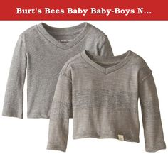 Burt's Bees Baby Baby-Boys Newborn Organic Basic Long Sleeve High V-Neck Tee and Slub Raw Edge Rugby Stripe Tee, Charcoal Heather, 3 Months. Our 100 percent organic cotton long sleeve V-neck tee comes in a variety of playful colors that will go with any bottom you choose. Its cozy feel makes it the perfect base for every outfit, so stock up made out of 100 percent organic cotton slub jersey fabric, the complementary rugby stripe V-neck will look awesome on your little one the raw edge…