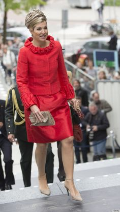 Queen Maxima of The Netherlands. The Huffington Post marvels at the hat.