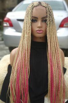 Fake Hair Braids, Pink Box Braids, Colored Box Braids, Blonde Box Braids, Box Braid Wig, Braids Wig, Fishtail Braids, Diy Braids, Curly Braided Hairstyles