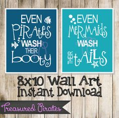 This item is unavailable Pirate Bathroom, Mermaid Bathroom, Nautical Bathrooms, Beach Bathrooms, Bathroom Kids, Kids Bath, Mermaid Wall Art, Mermaid Room, Wal Art