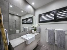 BATHROOM - Synergy Premier Twin with Edge 2 Facade on display at Oran Park New Home Builders, New Home Designs, Investment Property, Facade, Bathrooms, Twin, New Homes, House Design, Display