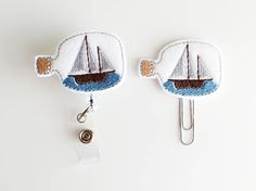 Ship in a Bottle Feltie | Paperclip | ID Badge Reel | Felt Badge Holder | Lanyard | Planner Clip | Planner Accessories | Sailboat Feltie