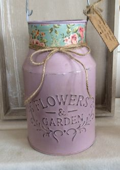 Hand painted dusky pink milk churn with light distressed effect by DottyCottage1 on Etsy