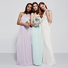 Let your inner goddess shine in this illusion one shoulder bridesmaid dress in our prettiest pastels!