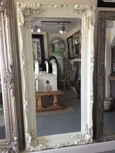 Leaning mirror. Yes please! Leaning Mirror, Mirror Mirror, Mirrors, Reflection, Frames, Bedrooms, Sweet Home, New Homes, Dining Room