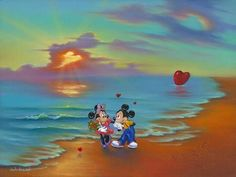 """Mickey and Minnie's Romantic Day"" by Jim Warren - Limited Edition of 50 on Canvas, 18x24.  Disney Fine Art"