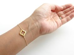Small Open Clover Bracelet. Lucky Gold Quatrefoil. Brushed Vermeil Clover. Bridesmaid Gift. Gift for Her. Simple Modern Jewelry by PetitBlu