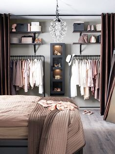 Debbie: I like the open closet for main house. Considering on locker room design in a small space bedroom could be a hard problem to solve. You should find ideas and inspirations on it carefully. Room Design, Interior, Bedroom Design, Home Decor, Room Inspiration, House Interior, Small Bedroom, Interior Design, Closet Design