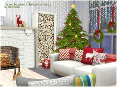 Created By Severinka Scandinavian Christmas living Created for: The Sims 4 A set of furniture and decor for the living room in a Scandinavian style. The set includes 12 objects: - sofa 2-seater (right...