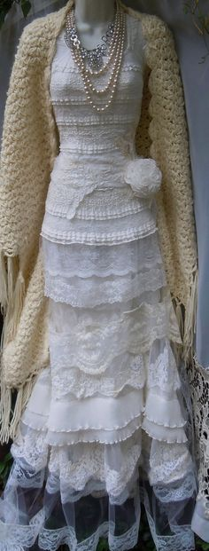Ivory mermaid dress wedding beaded tiered lace vintage tulle bride outdoor  romantic small by vintage opulence on Etsy on Etsy, $525.00