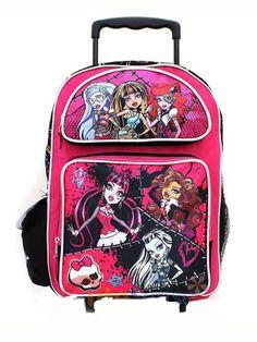"""Monster High Roller School Backpack 16"""" Large Pink Rolling Bag - Stitched Pink Monster High http://www.amazon.com/dp/B00DWKYVDC/ref=cm_sw_r_pi_dp_HL6Ztb0B1K70TKER"""