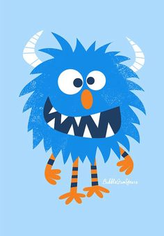 Blue monster. Bubble Gum Years - ETSY