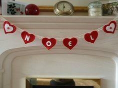 Heart Felt Christmas Bunting  Noel by SewCraftyLou on Etsy, £12.00