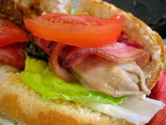 Angels on horseback P'oh Boys – Roasted bacon wrapped oysters… sandwich love! Roasted Bacon, Bacon Wrapped, Fish And Seafood, Oysters, Love Food, Sandwiches, Tasty, Chicken, Ethnic Recipes