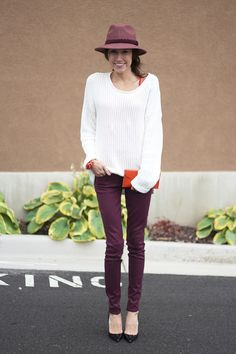 maroon with orange accents