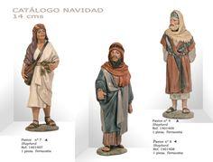 PASTORES Nº7, Nº8 y Nº9. Figuras de belén/pesebre, de terracota policromada, de 14 cm. Autor José Luis Mayo Lebrija.