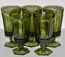 1970s Set of 5 Gothic Green Paneled Goblets, Shop Rubylane.com