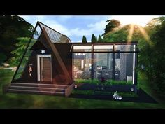 Real Life House to The Sims 4 Build - Sims 4 Modern House, Sims 4 House Design, Glass House Design, Sims 4 House Plans, Sims 4 House Building, Sims 2 House, Sims 4 Houses Layout, House Layouts, Sims 3 Houses Ideas