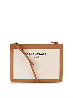 Balenciaga Navy Pochette cotton cross-body bag