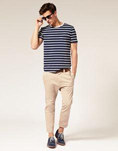 Striped Crew Neck T-Shirt -- Navy/White