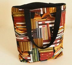 Library Tote Bag   Cotton Print Tote Bag   Multi-Colored Tote Bag by Bags and Purses by Beth, $48.00 USD