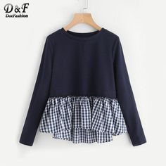 Plaid Flounce Trim Woman Tee Shirt New Navy Round Neck Long Sleeve Ruffle Woman Clothing Top Plain T Shirt - Damen Mode 2019 Sewing Clothes Women, Diy Clothes, Woman Clothing, Hijab Fashion, Fashion Outfits, Womens Fashion, Ladies Fashion, Fashion Clothes, Moda Junior