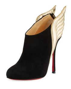 Mercura Wing 100mm Red Sole Bootie, Black/Light Gold by Christian Louboutin at Neiman Marcus.