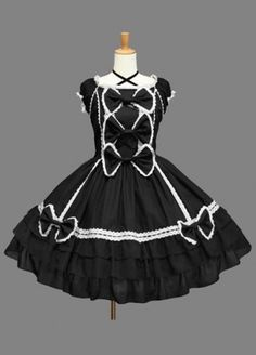 Black Sleeves Cap Bow Cotton Gothic Lolita Dress Lolita Clothing #black #bow #cotton #gothic #lolita dress