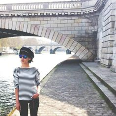 French blogger Leeloo in our classic Marinière striped top - http://www.petit-bateau.fr/?CMP=SOC_11732&SOU=&TYP=SOC&KW=pinterest #petitbateau #mariniere #bretontop