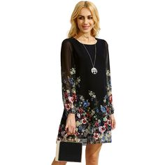Good Deal 2017 New Fashion Women Multicolor Round Neck Long Sleeve Floral Print Chiffon Dress 1pc_U00442