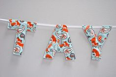 Woodland animal themed baby name banner! Cute foxes for your little one!