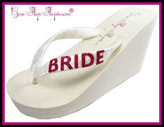 d9b70ec8b Items similar to Wedding Bride Flip Flops in Ivory   fuchsia or choose your  colors