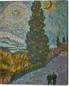 3ddb895cf780c5 Vincent van Gogh - Road with Cypress and Star Canvas Print • Pixers® • We  live to change