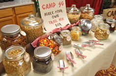 Make your own trail mix bar. Love this idea for a party or all day scrap!