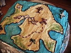 Peter Pan party - Neverland treasure map cake