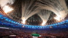 Dancers perform during the Opening Ceremony of the Rio 2016 Olympic Games at Maracana Stadium on August 2016 in Rio de Janeiro, Brazil. (Photo by Jamie Squire/Getty Images) Olympics Opening Ceremony, Rio Olympics 2016, Rio 2016, Olympic Games, Bbc, Brazil, Waterfall, Replay, Fireworks
