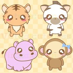 Kawaii Zoo Animals Clipart - Cute, Chibi Animals, Zoo Clipart, Hippo, Tiger, Monkey, Zebra, Safari, Jungle, Free Commercial and Personal Use