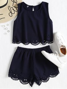 2018 Sleeveless Laser Cut Top and Shorts Set A site with wide selection of trendy fashion style women& clothing, especially swimwear in all kinds which costs at an affordable price. Teen Fashion Outfits, Mode Outfits, Outfits For Teens, Trendy Outfits, Trendy Fashion, Dress Outfits, Womens Fashion, Fashion Trends, Fashion Clothes